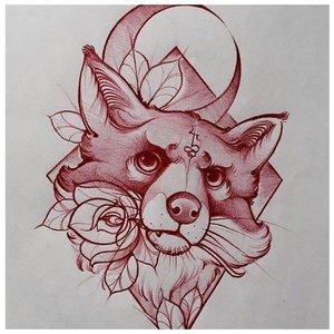 Эскиз тату лисы в красном цвете