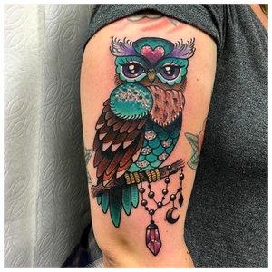 Цветное тату совы