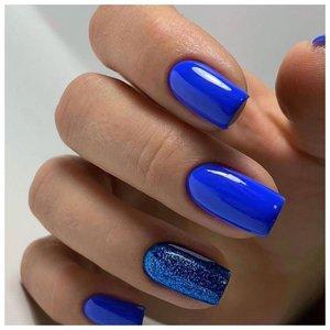 Комбинированный синий маникюр шеллаком