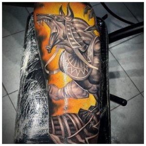 Татуировка Анубиса в цвете и 3Д