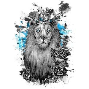 Эскиз тату льва с голубым цветом