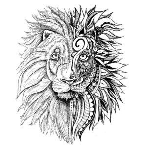 Эскиз графичной тату льва