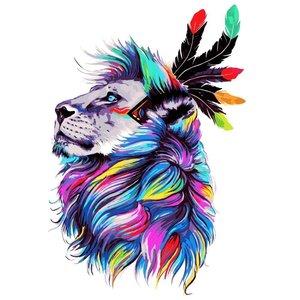Эскиз тату льва в цвете с перьями