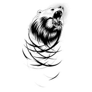 Эскиз тату на ногу с рычащим медведем