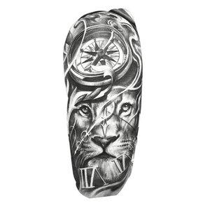 Эскиз тату на ногу со львом и компасом
