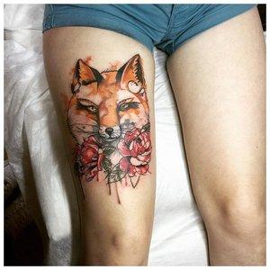 Акварельная татуировка с лисой
