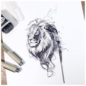 Эскиз тату льва в акварель-стиле