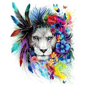 Эскиз тату льва в цвете с перьями и бабочками