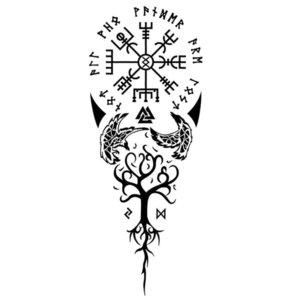 Эскиз тату на ногу с символами