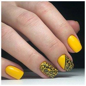 """Желтый шеллак с дизайном """"леопард"""""""