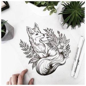 Эскиз тату лисы с растениями