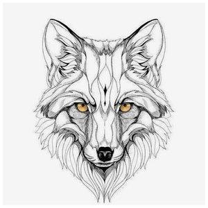 Эскиз тату лисы с цветными глазами
