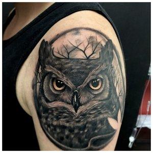 Тату совы на мужское плечо