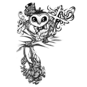 Эскиз совы с крестами