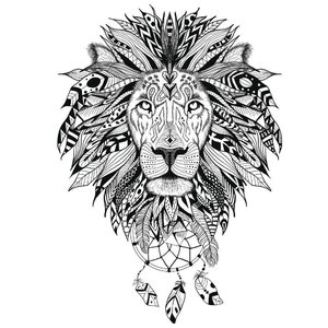 Эскиз тату льва в ориентал-стиле