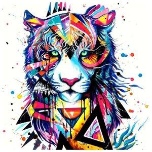 Эскиз тату льва в цвете с лайнворком