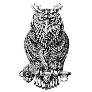 Эскиз тату классической совы с ключом