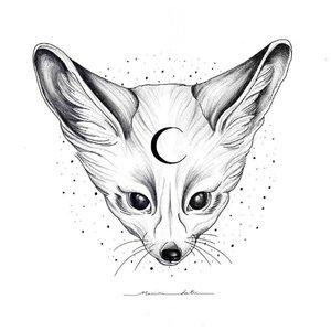 Эскиз тату лисы с луной