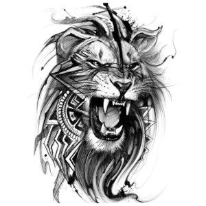 Эскиз тату льва в реализм-стиле