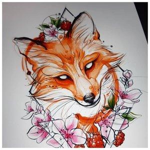 Эскиз тату лисы в цвете