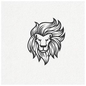 Эскиз тату льва с гривой