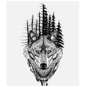 Эскиз тату на ногу с волком и лесом
