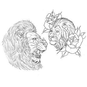 Эскиз тату головы льва