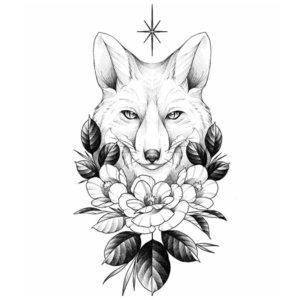 Эскиз тату лисы с цветами в ч/б