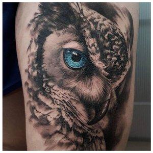 Тату совы с голубыми глазами
