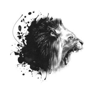 Эскиз тату рычащего льва