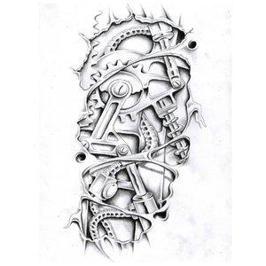Эскиз тату на ногу с биомеханикой