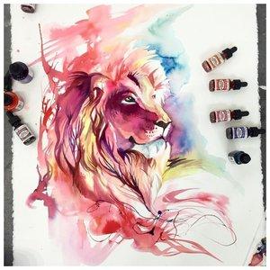 Эскиз яркой тату льва
