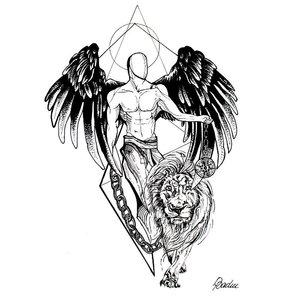 Эскиз тату на ногу со ангелом