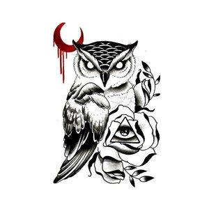 Эскиз тату совы с красной луной
