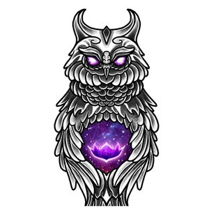 Эскиз совы с фиолетовым