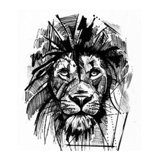 Эскиз тату льва в лайнворке и дотворке