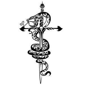 Эскиз тату на ногу с кинжалом и змеей