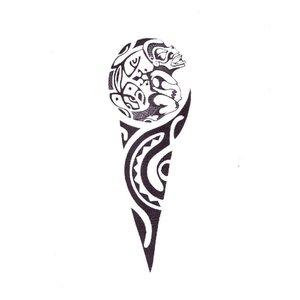 Эскиз тату на ногу с узором маори