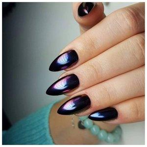Черные длинные ногти с втиркой