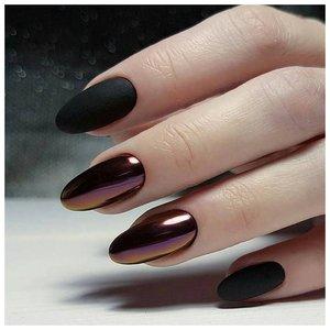 Черные ногти с металлических эффектом