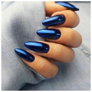 Синие длинные ногти с втиркой