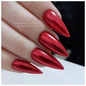 ДЛинные красные ногти с эффектом металла