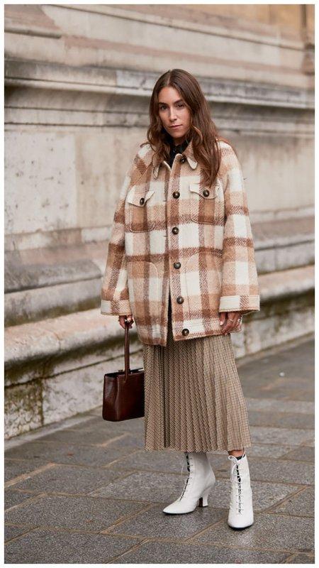 Модный образ с пальто в клетку