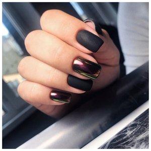 Черные квадратные ногти