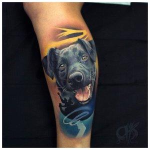 Цветная татуировка собака