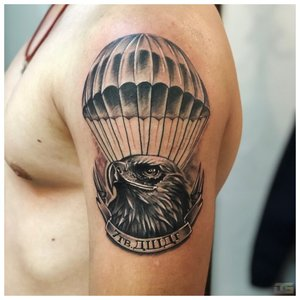 тату орел и воздушный шар