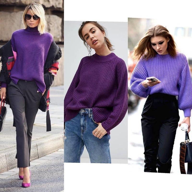 Модные образы с фиолетовым свитером