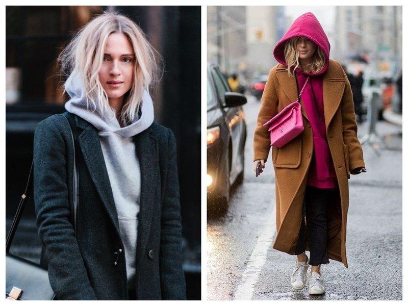 Как носить худи с пальто