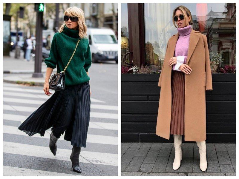 Как носить юбку плиссе и сапоги