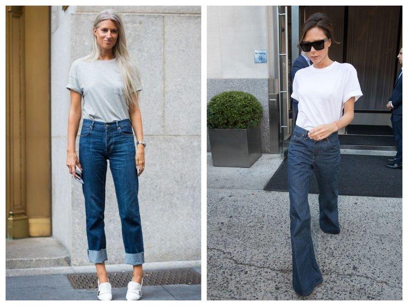 Модный образ: джинсы и футболка